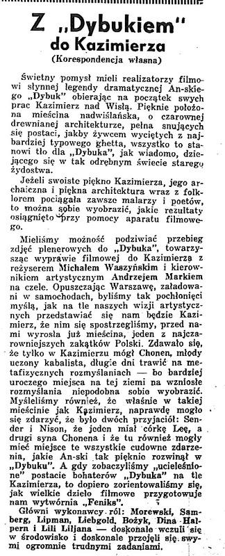 """Z 'Dybukiem"""" do Kazimierza"""
