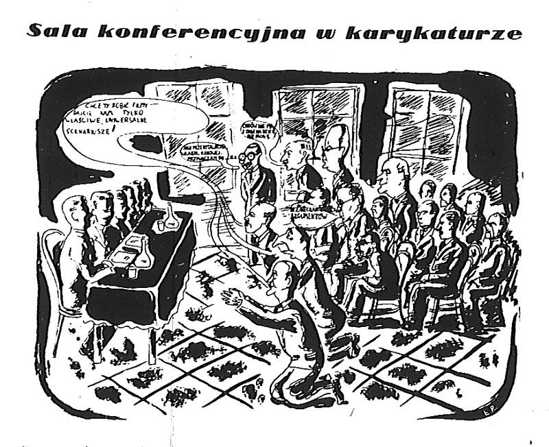 Sala konferencyjna w karykaturze